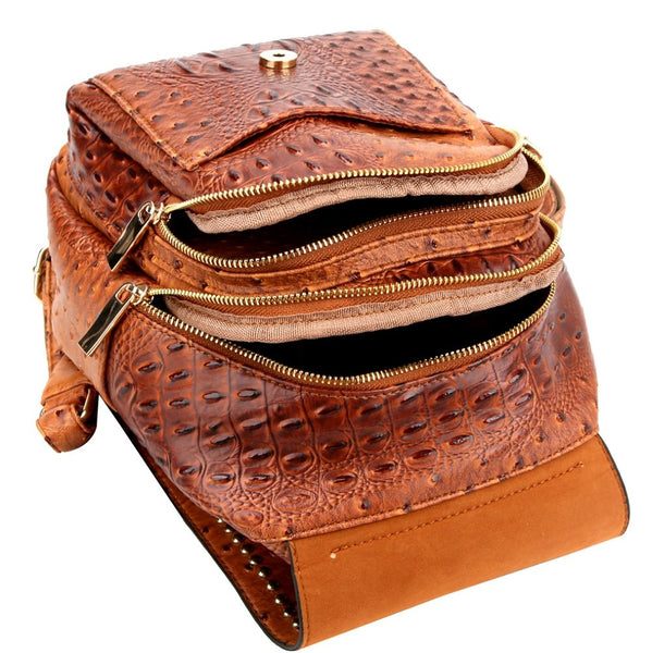 Ostrich Embossed Multi Compartment Fashion Backpack Wallet SET