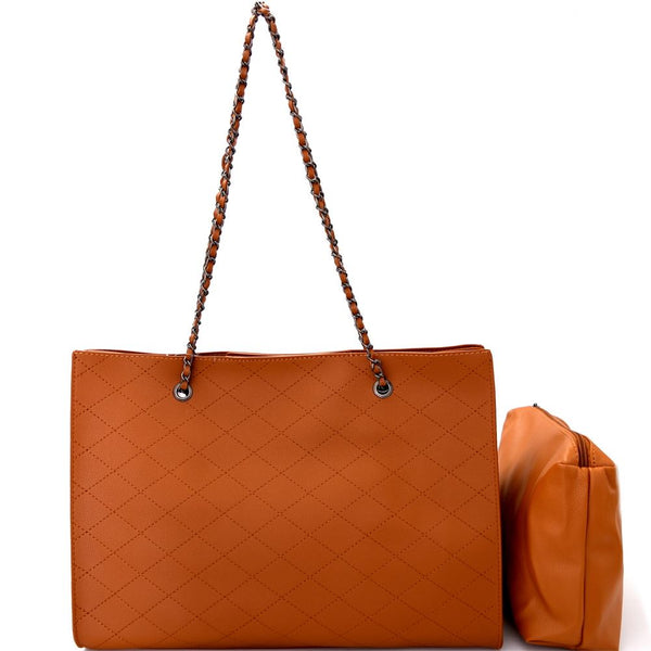 Classy Quilted 2 in 1 Chain PU Leather Tote Shoulder Bag with Pouch