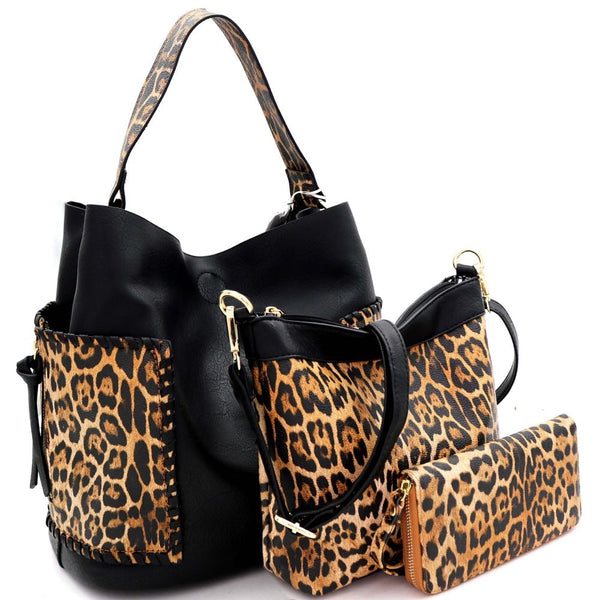 Whipstitched Side Pocket Leopard Print 3 in 1 Hobo Bag and Wallet SET