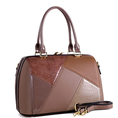Crocodile Color Block Patchwork 2-Way Boston Satchel Bag