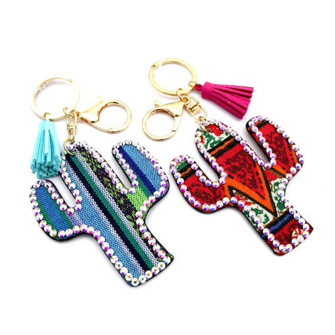 Ethnic Tribal Serape Pattern Cactus Shape Tassel Key Chain