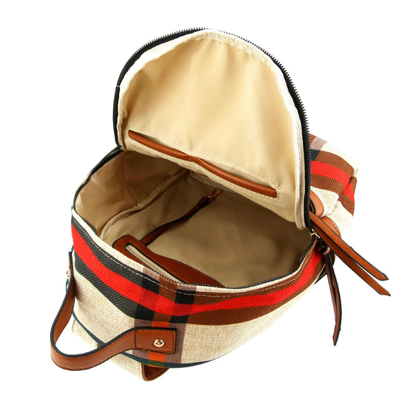Multi-Pocket Plaid Pattern Linen Fashion Backpack