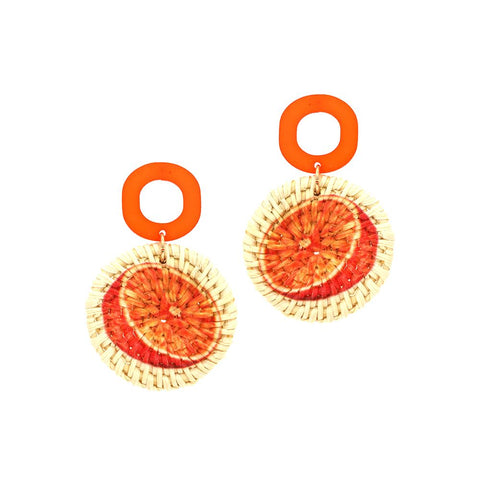 Orange Print Straw Acrylic Post Novelty Earring