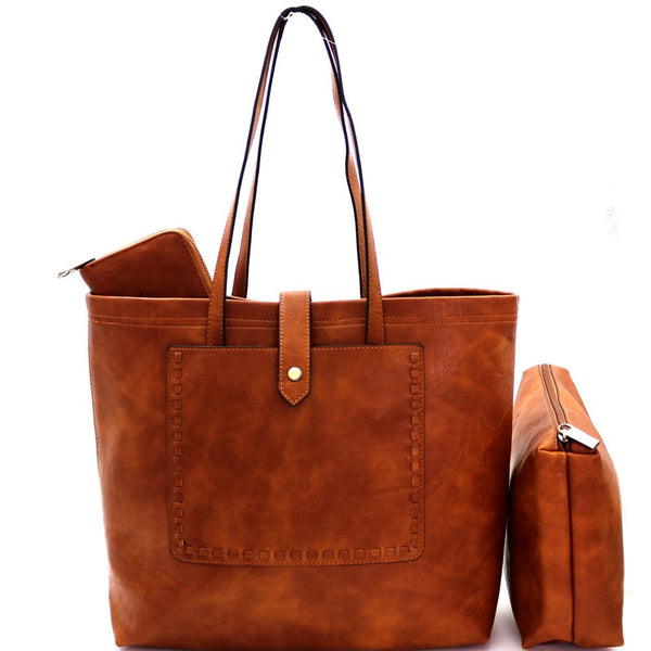 Stitch Accent Pocket 3 in 1 Shopper PU Leather Tote Purse with Inner Bag and Wallet Value SET