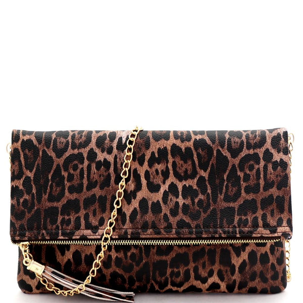 Tassel Accent Leopard Print Fold-Over Clutch Shoulder Bag