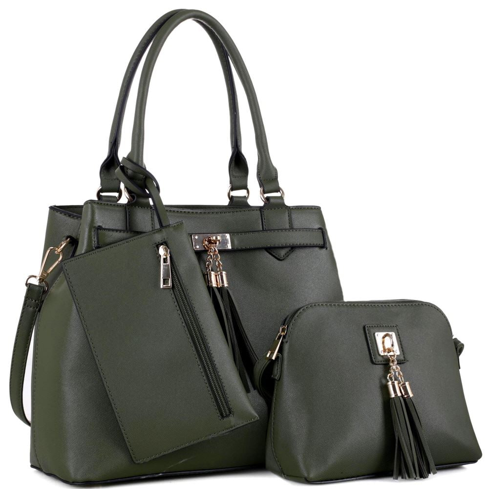 Tassel Accent Classy 3 in 1 Tote Bag and Cross Body Value SET