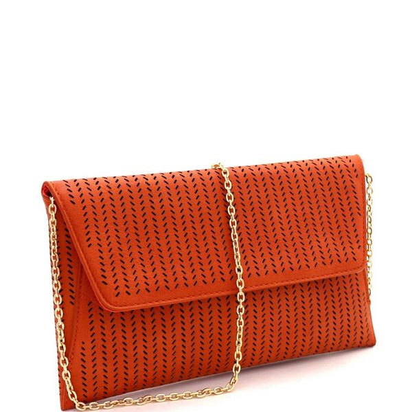 Perforated Laser-Cut Flap PU Leather Clutch Shoulder Bag