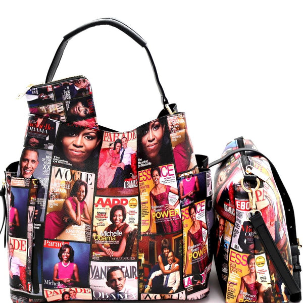 Michelle Obama Magazine Print PU Leather Side Pocket 3 in 1 Hobo Bag and Wallet SET