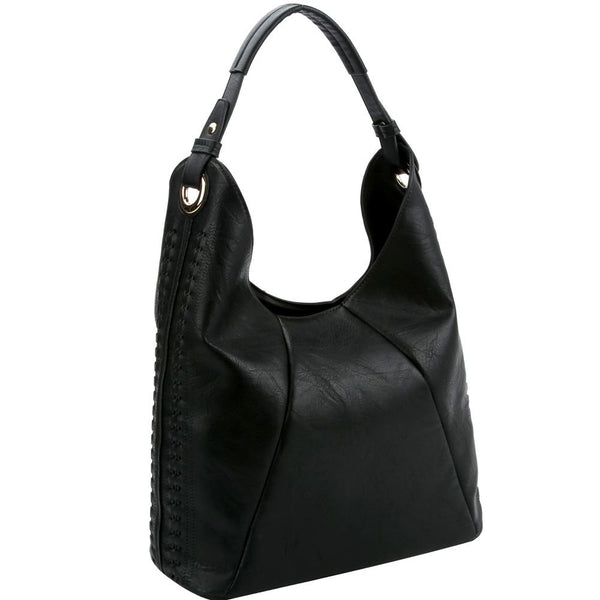 Whipstitched Perforated Detail Single Strap PU Leather Hobo Bag