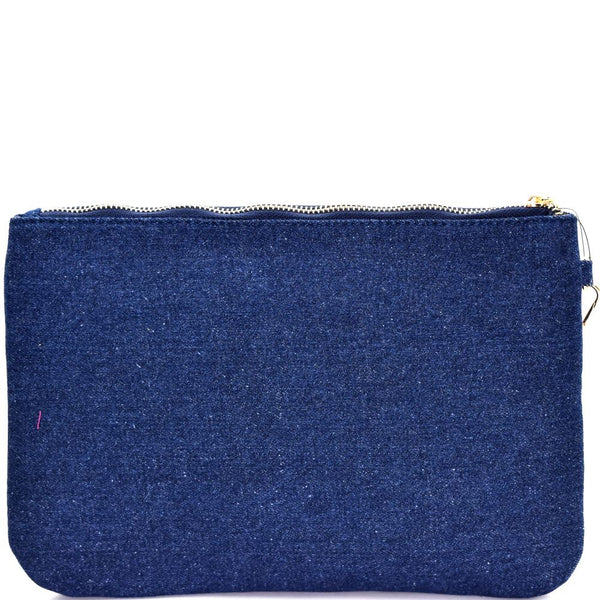 Bird and Flower Embroidery Denim Clutch