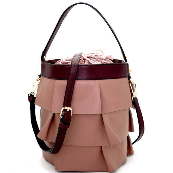 Linen Lining Drawstring Ruffled 2 Way Bucket Carry Bag