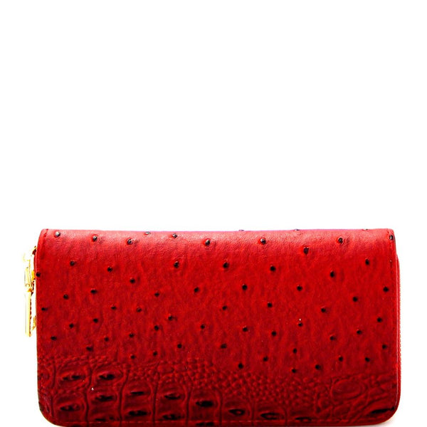 Ostrich Print Embossed Zip-Around Wallet