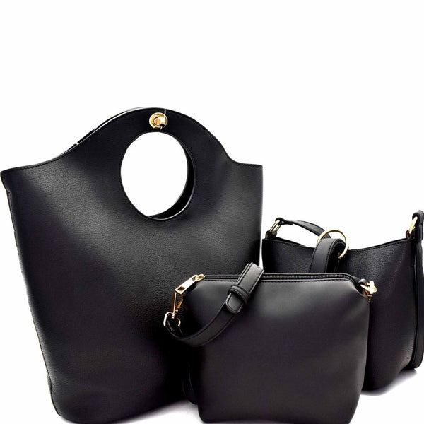 Cut-Out Handle Accent 3 in 1 Satchel with Shoulder bag and Pouch Value SET