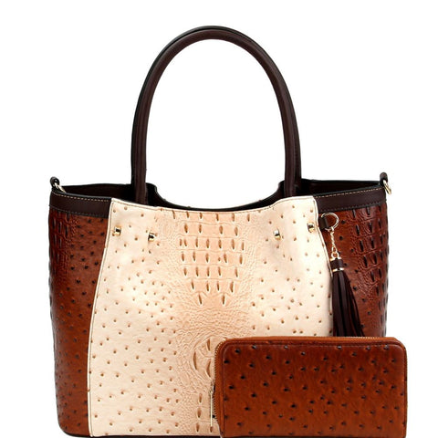 Tassel Accent Color Block Ostrich Print Tote Bag and Wallet SET