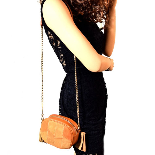 MMS Leather Suede Tassel Patchwork Camera Bag Cross Body