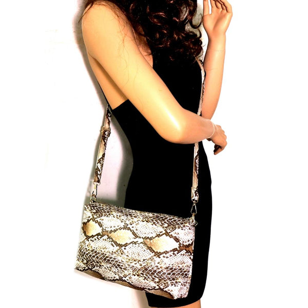 Snake Print 2 in 1 Tall Shopper Tote Bag