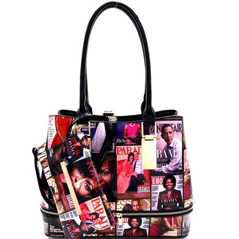 Michelle Obama Magazine Print Zipper Accent 2 in 1 Tote Bag ans Wristlet Value SET