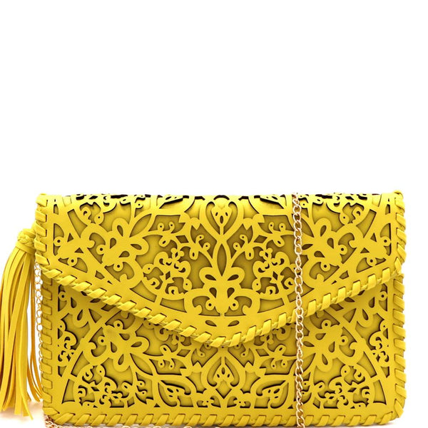 Tassel Accent Whipstitched Laser-Cut PU Leather Envelope Clutch