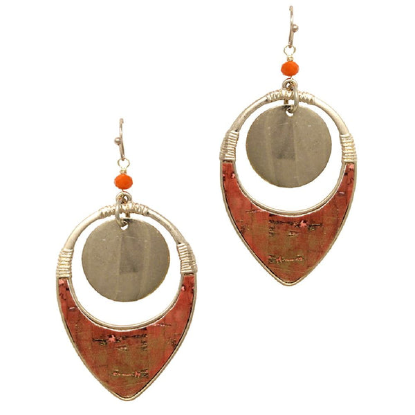 Brush Painted Cork Metal Layer Open-cut Dangle Earring