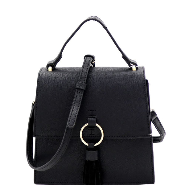 Metal Ring Tassel Accent Medium Flap Satchel Shoulder Bag