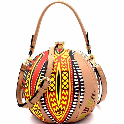 Ethnic Dashiki Dashiki Print Patchwork Ball-Shaped 2-Way Satchel Bag