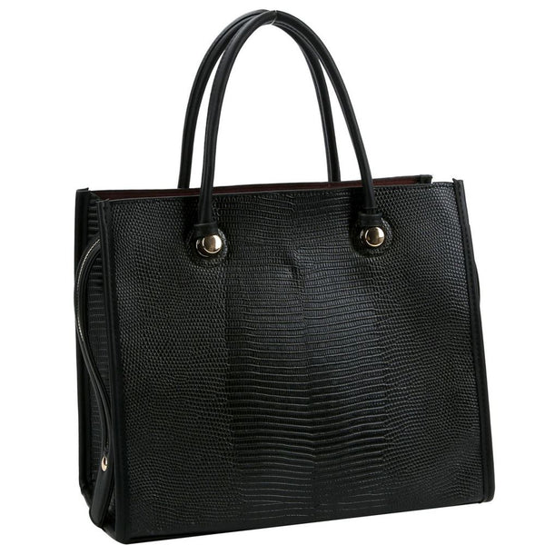 Lizard Skin Embossed 3-Compartment PU Leather Satchel Purse