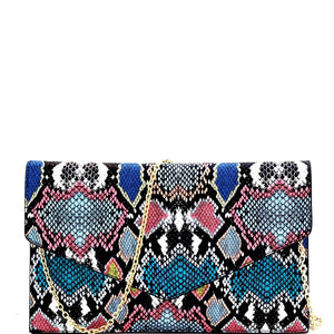 Multi-Colored Snake Print Envelope Clutch