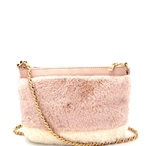 Color Block Faux-Fur Plush Chain Shoulder Bag