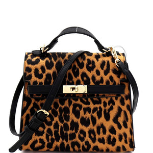 Leopard Print Turn-Lock Accent Medium Satchel Shoulder Bag