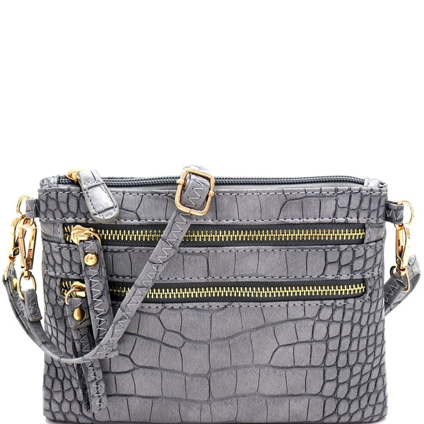Crocodile Print Multi Pocket Versatile Wristlet Cross Body Bag