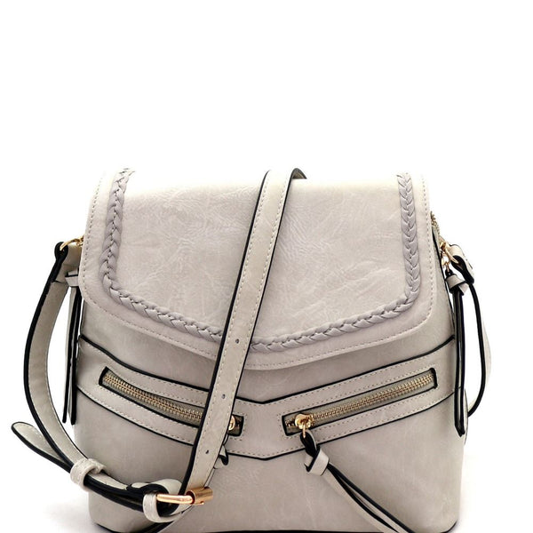 Braid Accent Convertible PU Leather Backpack Shoulder Bag