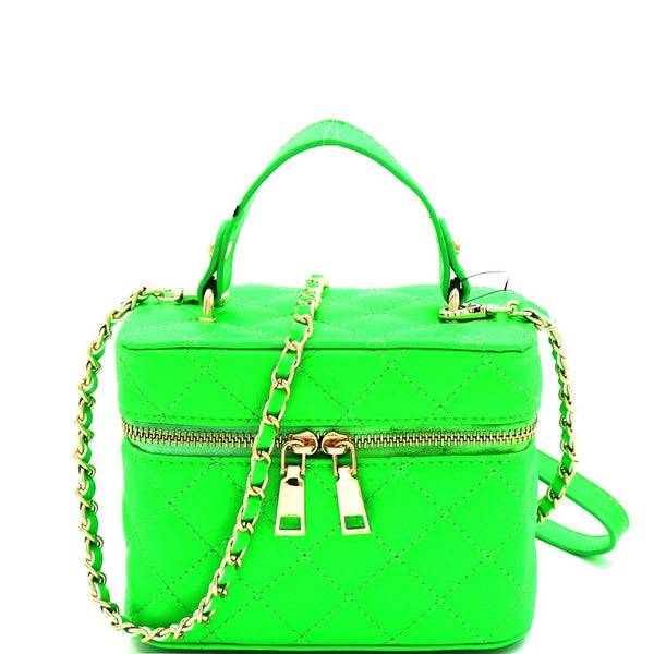 Quilted Top-Handle Medium Boxy Satchel Shoulder Bag Neon