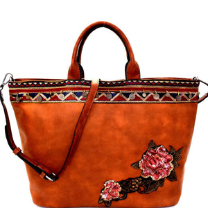 Sequin Embellished Flower Patch Bohemian Tote