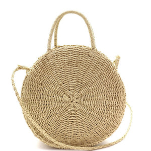 Woven Straw 2-Way Bohemian Round Circle Satchel Bag