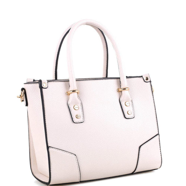 Classy Structured PU Leather 2-Way Medium Satchel Bag Purse with Crossbody Strap