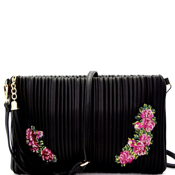 Tassel Accent Vertically Lined Sequin Flower Embroidered PU Leather Clutch