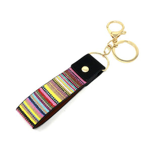 Ethnic Tribal Aztec Stripe Serape Pattern Canvas Key Chain Holder