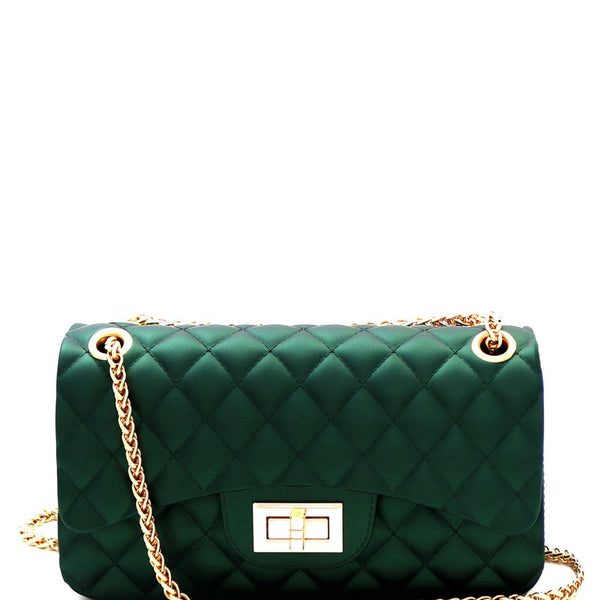 Matte Texture Dressy and Cute Quilted Jelly Small 2 Way Shoulder Bag Cross body with chain strap