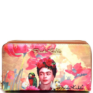 Authentic Frida Kahlo with Parrot in Flowers Double Zipper Wristlet Wallet