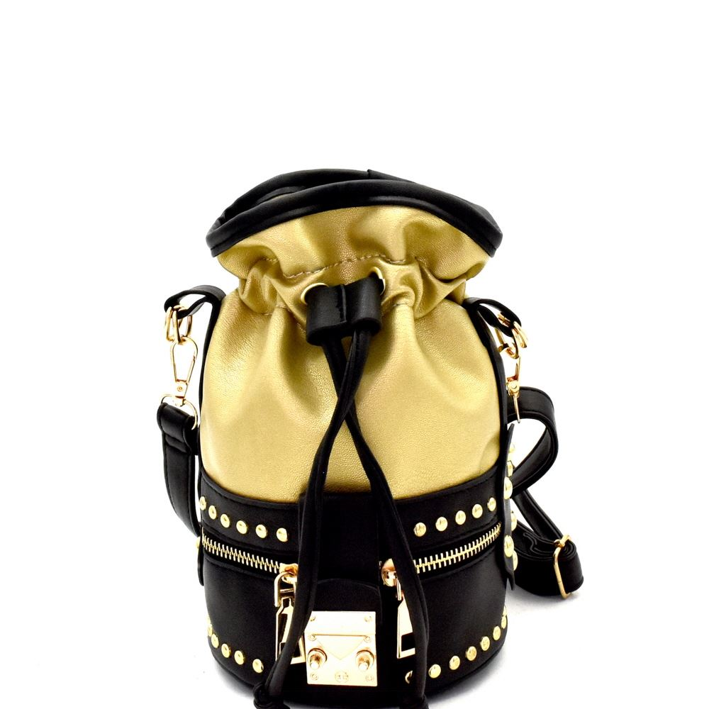 Studded 2-Way Drawstring Bucket Shoulder Bag