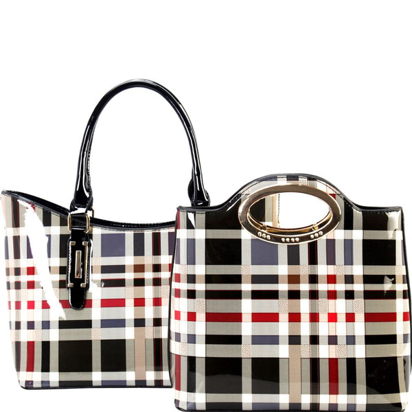 Plaid Checker Print Patent 2 in 1  Metal Handle Satchel Bag and Tote SET