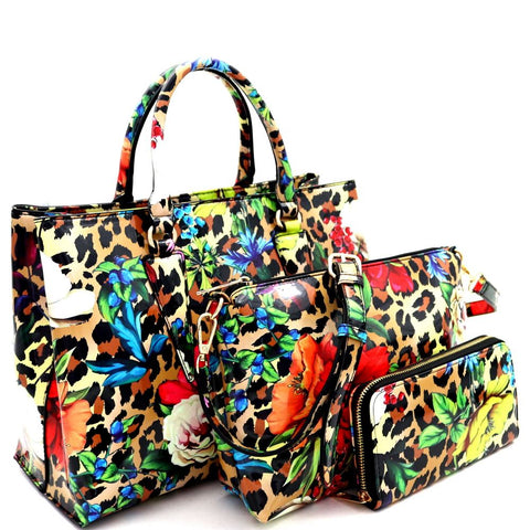 Flower Leopard Print Patent 3 in 1 Satchel Bag and Wallet SET