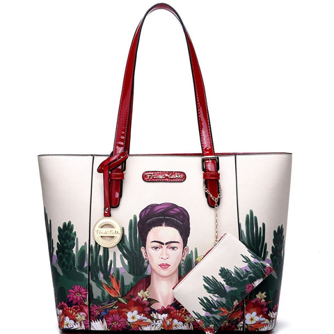 Authentic Frida Kahlo Cactus Series 2 in 1 Shopper Tote Bag