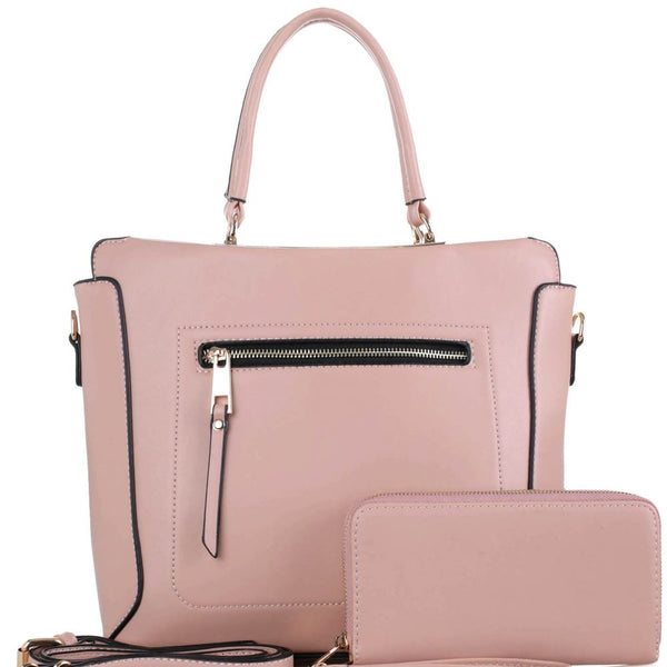 Front Zipper Pocket Accent 2-Way Satchel Bag and Wallet SET