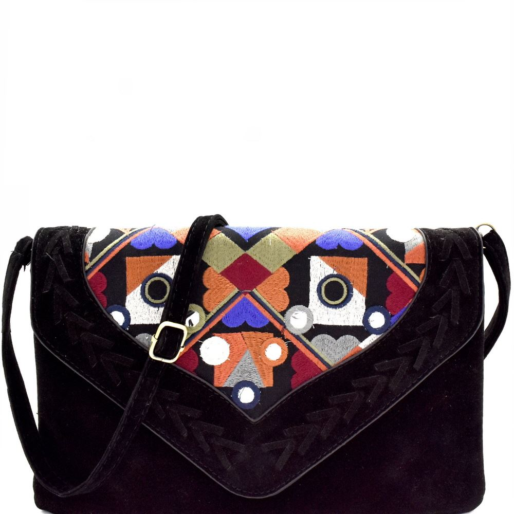 Colorful Embroidery Woven Felt-Suede Envelope Clutch