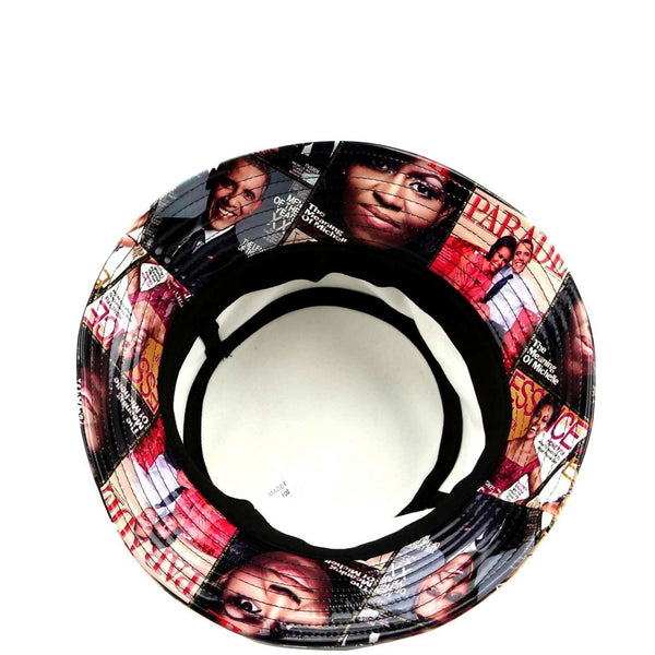 Michell Obama Magazine Print Patent Bucket Hat