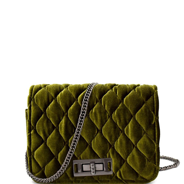 Quilted Velvet Cross Body Shoulder Bag