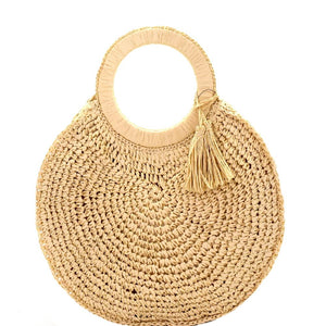 Tassel Accent Circled Pattern Knitted Straw Round Satchel bag