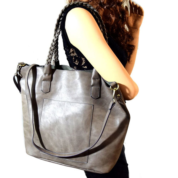 Braided Handle 2 Way Shopper Tote Bag