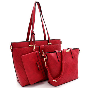 Padlock Accent Quilted 3 in 1 Tote Value SET